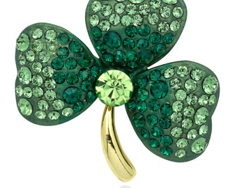 Gold-tone Swarovski Element Crystals Gold Tone St Patrick Day Three Leaves Clover Pin