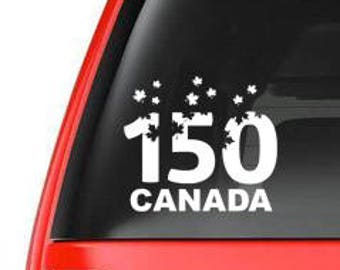 150 years Canada car window vinyl decal, vehicle decal, celebrating Canada, window cling, car decal, window decal, maple leaves, sticker-075