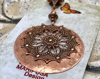 Victorian filigree copper pendant, large pendant, hammered copper pendant, vintage, hammered metal