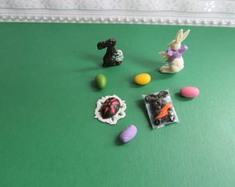 Miniature Dollhouse Chocolate Rabbits and Egg/ Colored eggs (Set of 8) 1/12th''