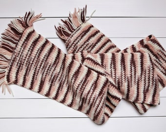 Long scarf Brown scarf Pink scarf Knit scarf Chunky knit Wool scarf Hand knit scarf Men knitting Winter scarf Knitted scarf Women scarves
