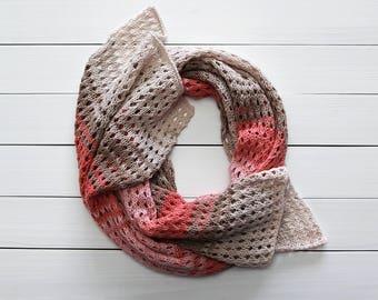 Knit cotton shawl Knit wedding shawl Bridesmaids shawl Hand knit shawl Knit wraps shawl Beige cotton shawl Pink cotton shawl Gift for mother
