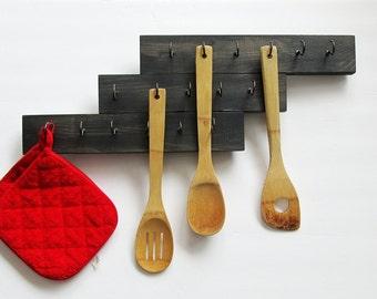 Wood Utensil Holder, Hanging Utensil Holder, Kitchen Organizer, Wood Utensil Holder, Utensil Organizer, Wooden Organizer, Mug Holder