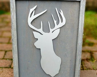 Framed Deer Head-Silver and Weathered Grey
