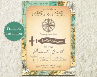 Travel Theme Bridal Shower Invitation, From Miss To Mrs Travel Map Invitation, Adventure Bridal Shower Invitation, Vintage Map Bridal Shower