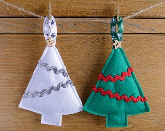 Pair Felt Trees Hanging Christmas Decoration Green White