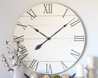 Wood clock. Cream white. Barn wood decor. Large wall clock. Modern wood decor. Repurposed wood. Farmhouse wall decor. Farmhouse clock.