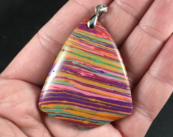 Triangular Colorful Synthetic Stone Pendant Necklace