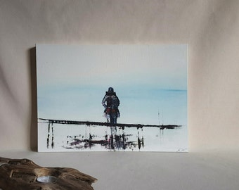 Abstract Coastal Oil Painting. Minimal Figurative Picture of a Lady Searching the Horizon. Black, white, and Red with Ocean Blue colours.