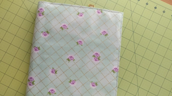 Happy Planner fabric cover - mint green, lavender flowers, gold, polka dots