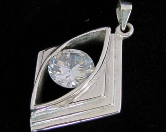 sparkling Silver Pendant with round cut White CZ