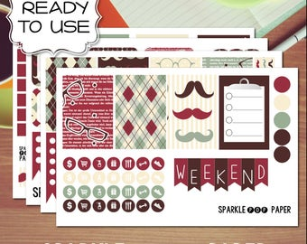 Dapper Mustache Weekly Layout Stickers for MAMBI Happy Planner (Classic Size)