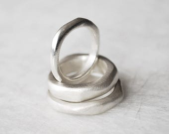 Silver partner ring, narrow naturalistic, organic ring sterling silver, irregular shape, wedding band, his & hers, soft structure