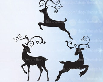 Reindeer svg, Christmas Deer svg files, cutting printing or transfers. Oh deer, swirly antlers. Diy holiday decor