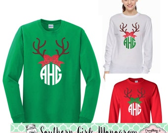 Christmas Reindeer Monogram Shirt With Bow