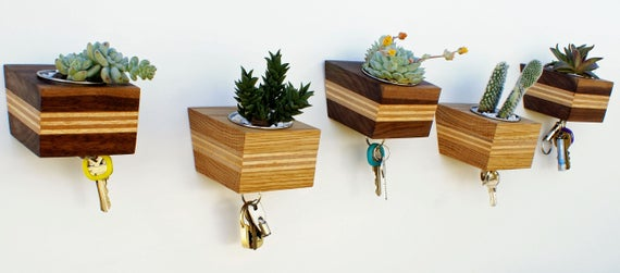 Lil' Urb - Modern Wall Mounted Wood Succulent Planter and Magnetic Key Rack