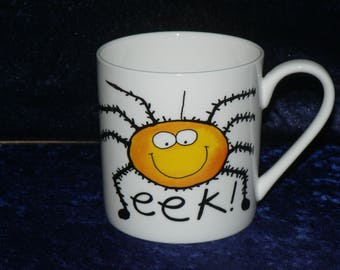1 pint mug with spider design, Bone china pint mug different on both sides - personalised if required at no extra cost