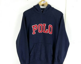 Vintage 90's POLO RALPH LAUREN Sweater Hoodie Medium Ralph Lauren Polo Spell Out Pullover Hip Hop Sweater Polo Sport Hoodie Jacket Size M