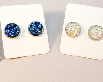 silver studs, silver earings ,sparkly glitter, faux druzy,druzy earrings, druzy studs, druzy jewellery,women's gift for her,stone earring,