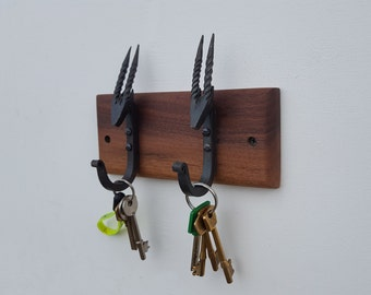 Walnut Key rack with 2 hand forged hooks