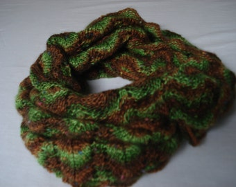 Warm and cozy green brown col, handknitted fantasy -  lace pattern