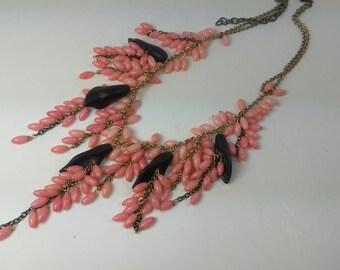 Natural black Agate flowers pink coral cluster Pink black natural gemstones multicilor multi gemstone drop delicate statement necklace