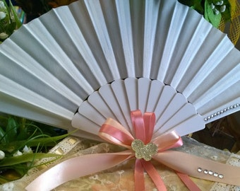 Wedding hand fan white with Decorations