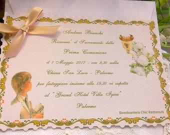 First Communion invitation Bimbo and Chalice