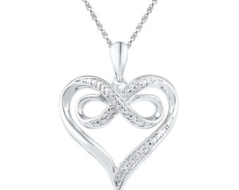 Diamond Heart White Gold Pendant Necklace, 10k, 14k, or Sterling Silver Heart Knot Necklace