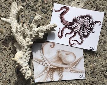 Octopi postcard four pack art print