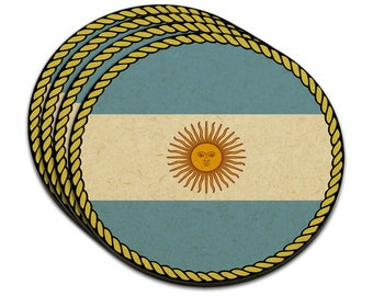 Flag Of Argentina Mdf Wood Coaster Set Of 4