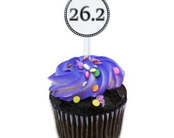 Marathon 26.2 Cake Cupcake Toppers Picks Set