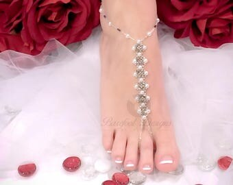 Wedding Day Pearls Barefoot Sandal, Pearls Bridal Barefoot Sandal, Wedding Barefoot Sandal, Pearl Barefoot Sandal, Beach Bridal Barefoot