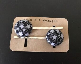 Star fabric covered button bobby pin pair, Star hair pin, star hair accessory