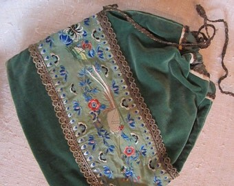 Antique embroidered pouch bag