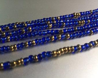 """African Waist Beads -- Blue & Gold -- 45"""""""