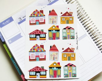 Planner Stickers - Houses Deco Sheet
