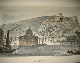 L. Lange del. Die Pfalz bei Kaub / L. Robock sculp. Steel Engraving on Paper, Antique Print