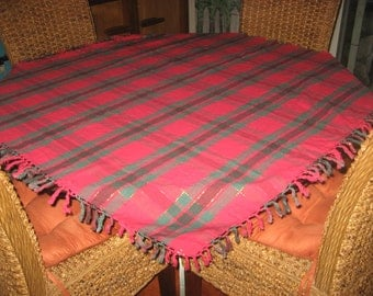 Holiday Tablecloth 48 inch Square Red, Green, Gold Threaded with Fringe