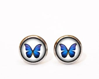 Royal Blue Earrings, Butterfly Earring Studs, Stud Earings, Butterfly Earring, Butterfly Jewelry, Butterfly Earring Stud, Blue Ear Post, UK