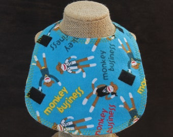 Sock Monkey Flannel Bib Baby Shower Gift Baby Gift Drool Bib Mealtime Essentials Baby Layette