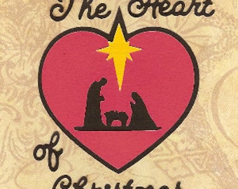 Christmas Nativity Ornament, SVG Digital Download, Heart of Christmas, Scrapbook Embellishment