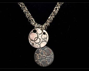 Black and white silver circles necklace