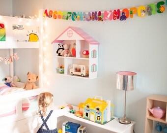 Uppercase rainbow alphabet banner, alphabet bunting, children's alphabet, nursery banner, alphabet decoration, educational banner, rainbow