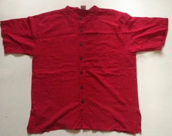 vintage mens red short sleeve / mens button up tee / hand woven cotton tee / red button up