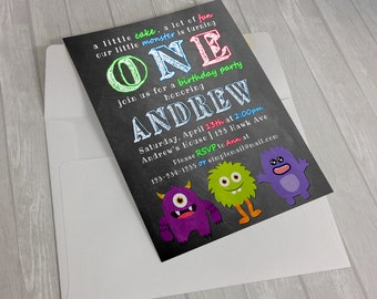 Digital MONSTER BIRTHDAY invitation, Printable Monster Birthday Invitation,Monster Birthday Party (JPG).Black,Sweets Celebrate. Digital Art.