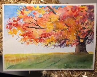 Watercolour tree painting, fall decor ideas. watercolour tree print, fall foliage, landscape watercolor, autumn tree, instant download