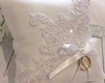 Silk Ring Pillow, Lace Ring Pillow, Wedding Ring Pillow, Ring Bearer Pillow, Beaded Ring Pillow, Ring Cushion, Satin Ring Pillow