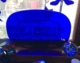 Vintage Cobalt Blue Serving Platter