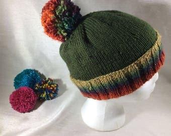 Pom Pom hat, brimmed hat, vegan hat,  knitted hat, knitted fashion, vegan fashion, bobble hat, vegan knits, men's hat, women's hat